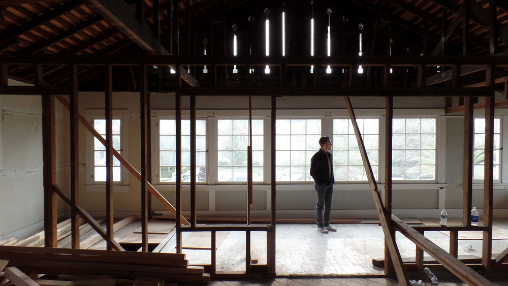 Lead designer, Kirk Snyder surveys the progress of the restoration.