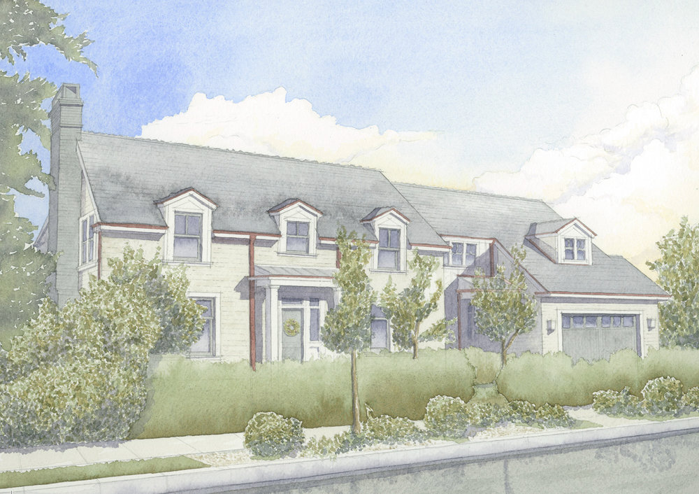 A watercolor rendering of a ground-up Colonial Revival residence in Hollywood painted by project manager Jim Coyle , 2017.