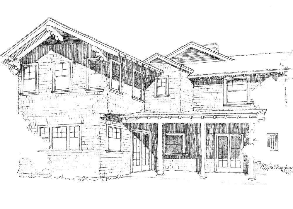 A pencil rendering of a proposed addition to a Craftsman home served as inspiration for the final design, eventually drafted and refined digitally.