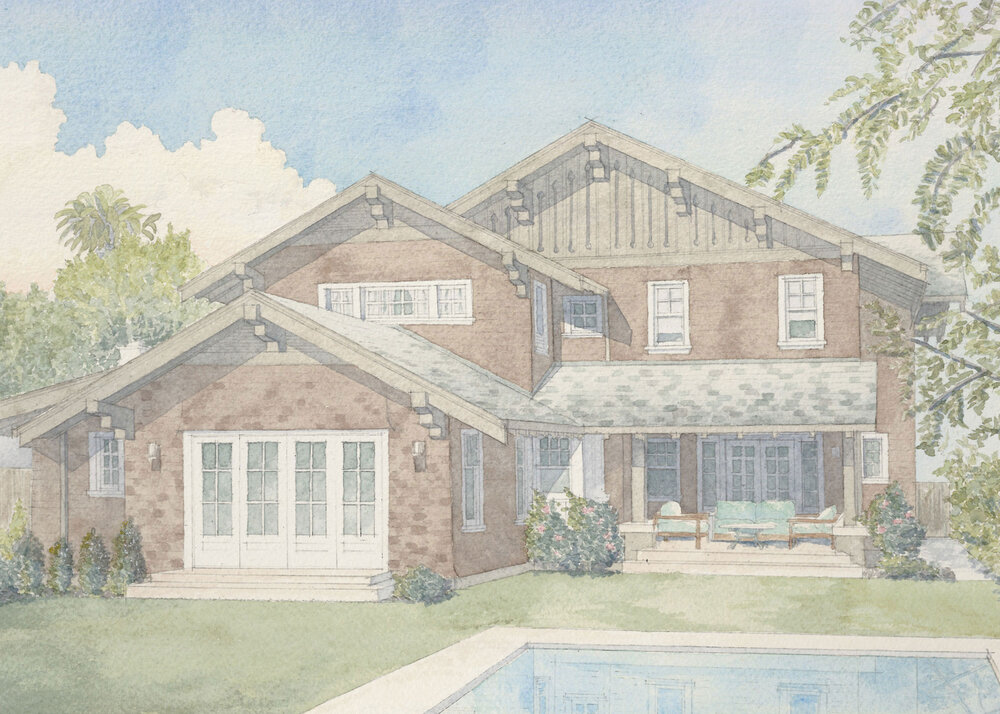 Watercolor by Jim Coyle of a renovation and rear addition to a Craftsman residence in Santa Monica.