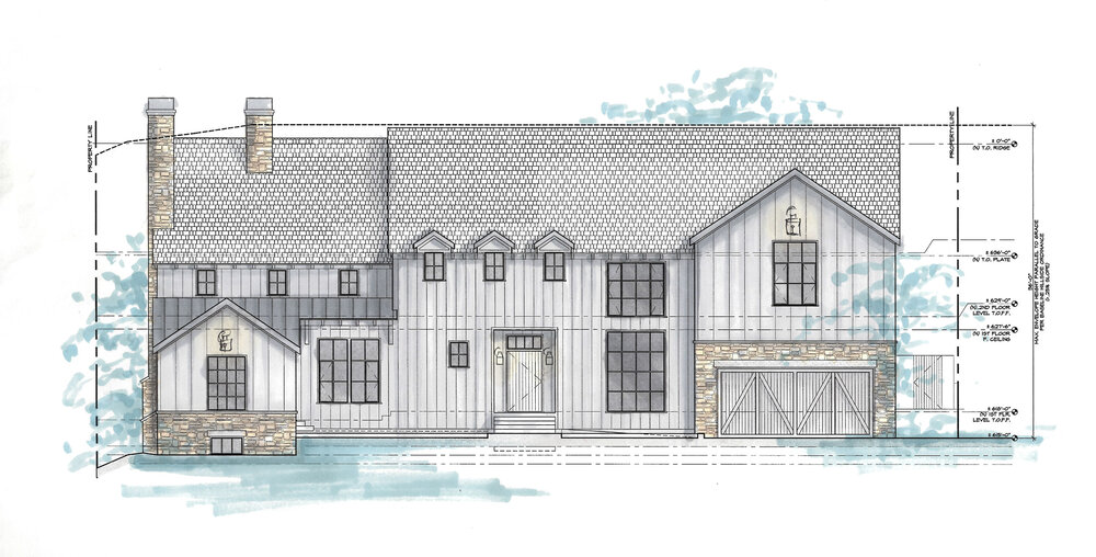"""This exterior elevation of a ground-up home in Brentwood by Project Manager Katie Peterson was created in AutoCAD, with color and shadow added by hand. """"We had various concept images, but this let the owner get a better idea of how the materials would look on their specific house. Because dimension often gets lost in a flattened 2-D drawing, the shadows allowed for us to show how the home steps back to define the various massings,"""" notes Katie."""