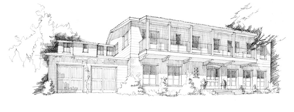 Many clients find it difficult to visualize their homes based on two-dimensional plans and elevations alone. This sketch by Tim Barber illustrates a possible front facade, 2018.