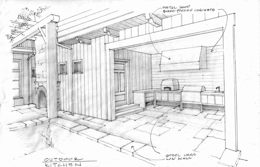 This rendering of Korey's ground-up project (mentioned above) illustrates materiality and provides a closer look at specific details of the residence's outdoor kitchen.