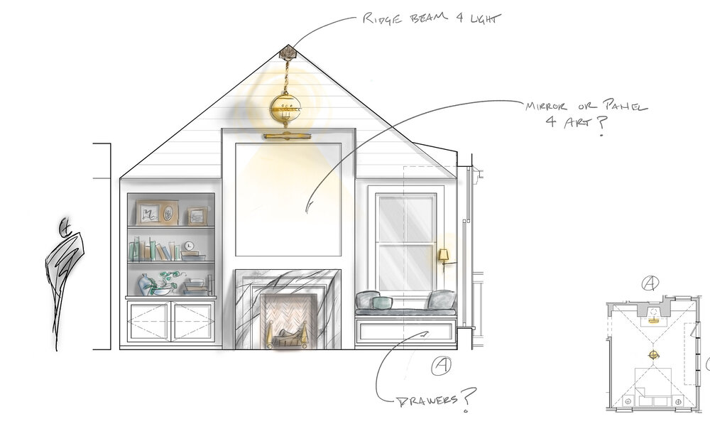 In this elevation of a master bedroom, the lighting, accessories and materiality were added to the 2-D AutoCAD draft via hand sketching and Photoshop – bringing the drawing to life.