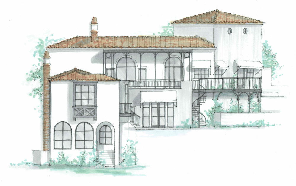 A pen and ink rendering of the rear facade of a Spanish Colonial Revival style residence in Los Angeles, designed by senior project manager Ari Engelman , 2018.