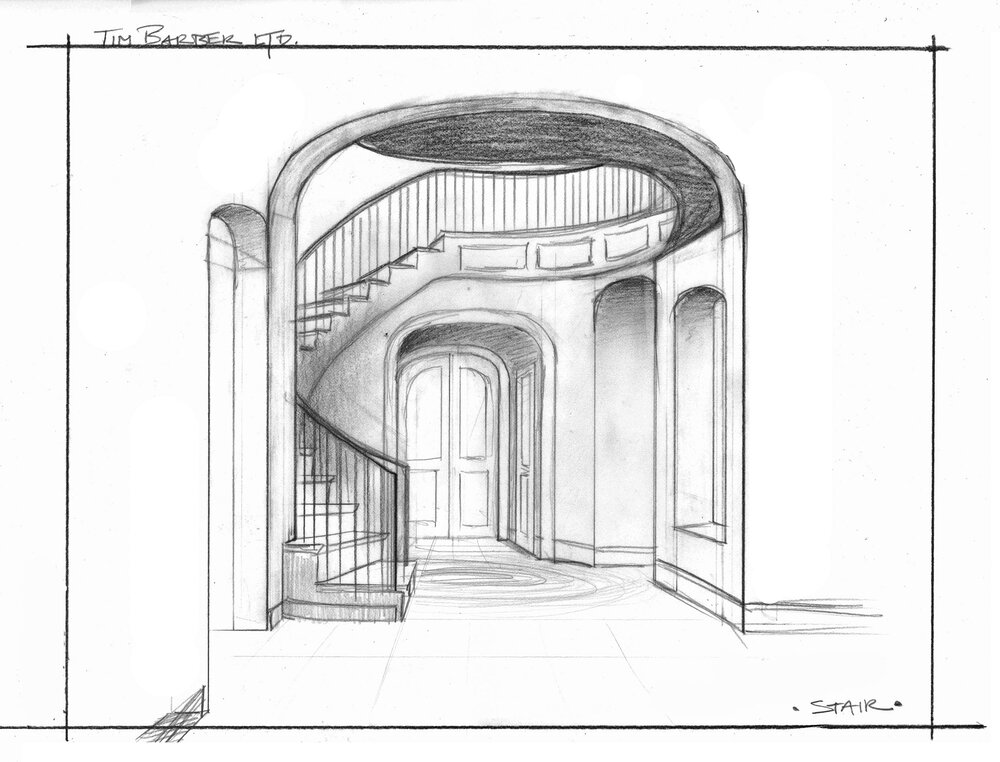 """""""[For this project,] hand sketching was critical in understanding an elliptical double height foyer. 2-D drawings could not fully express or capture what this space would """"feel"""" like,"""" says Senior Project Manager Ari Engelman."""
