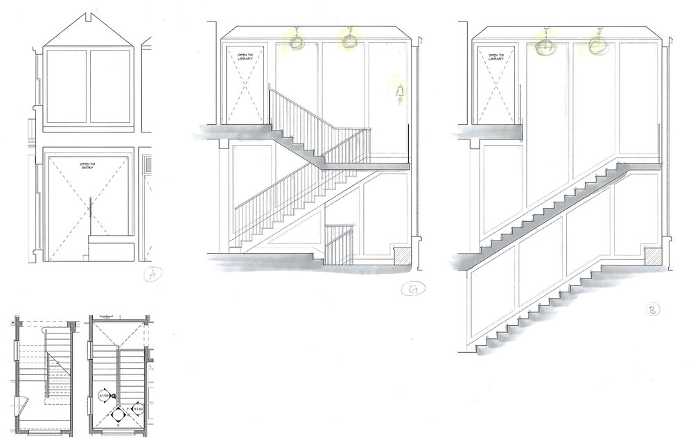This early 2-D elevation of a stair hall shows multiple viewpoints, allowing the homeowners to imagine the stair from different spots within the home. Later, during our construction documents phase, interior elevations like this will be carefully detailed with exact specifications, measurements and materials.