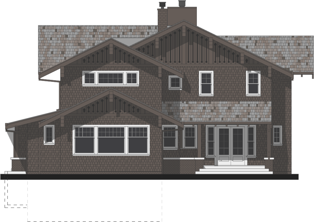 The architectural rendering of the rear of the house reflect the Swiss details from the front of the home.